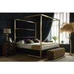Hoxton Four Poster Bed – King 150 x 200cm – 5ft – Brushed Brass